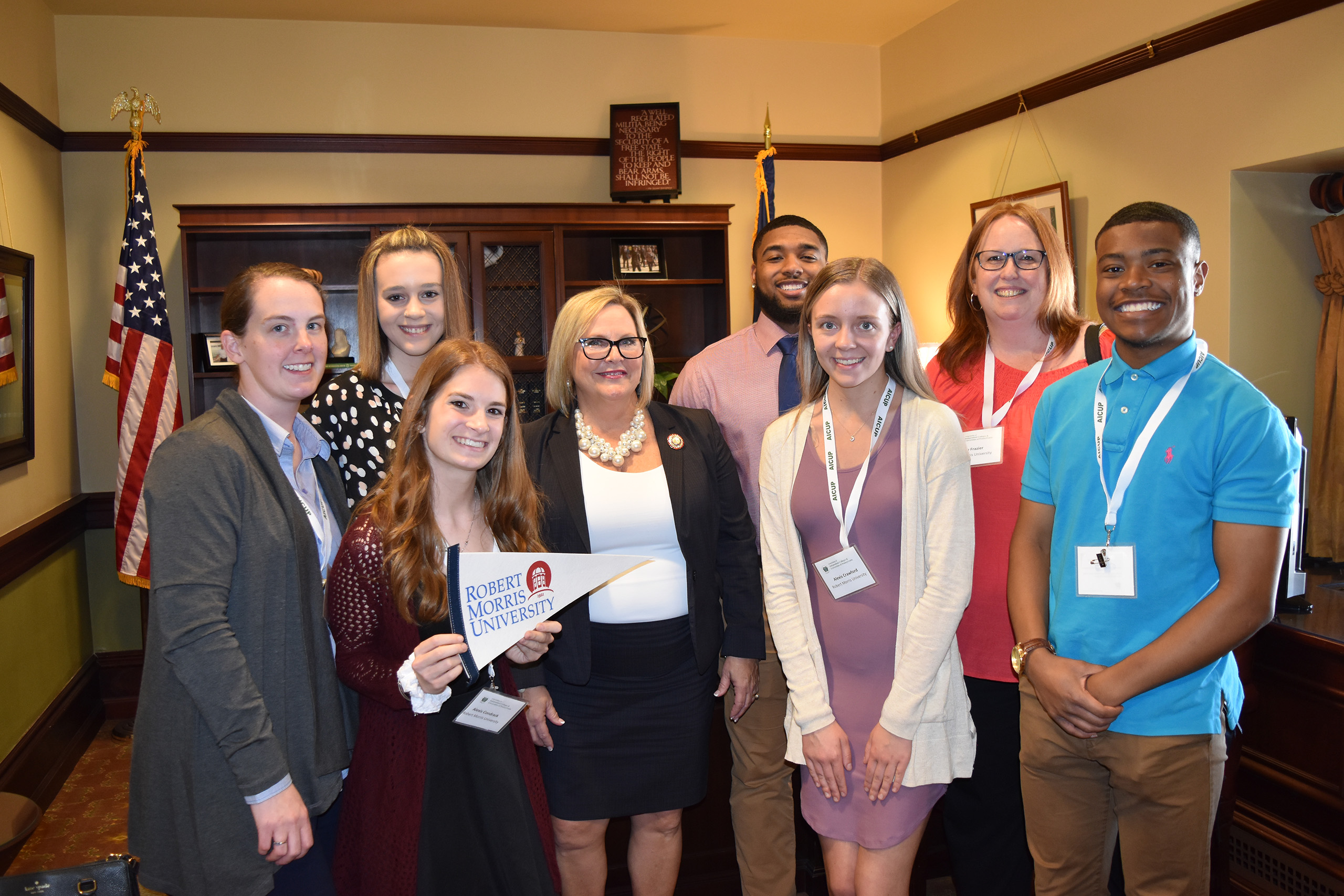 Group of students at AICUP Student Advocacy Week with Senator Judy Ward